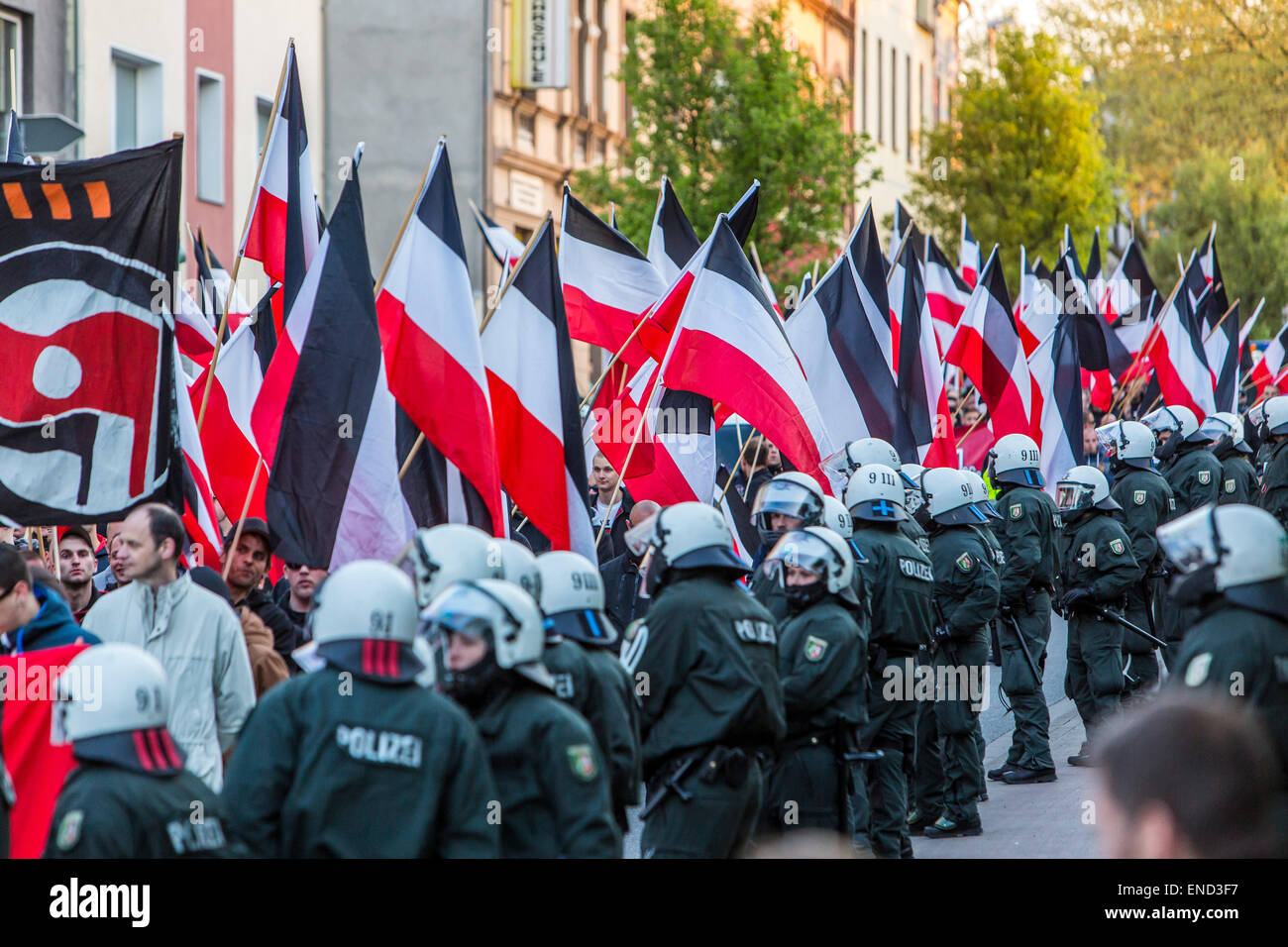 Demonstration of right wing Neo-Nazi party 'Die Rechte', a first of May, in Essen, Germany, - Stock Image