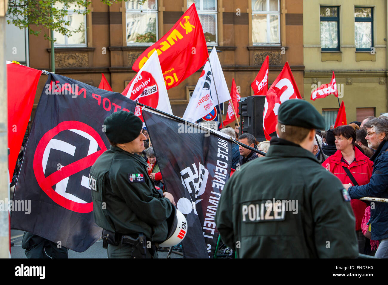 "Demonstration of right wing Neo-Nazi party ""Die Rechte"", a first of May, left wing counter-demonstrators, Essen, Stock Photo"
