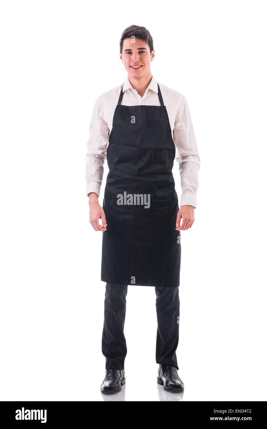 Full length shot of young chef or waiter posing isolated - Stock Image