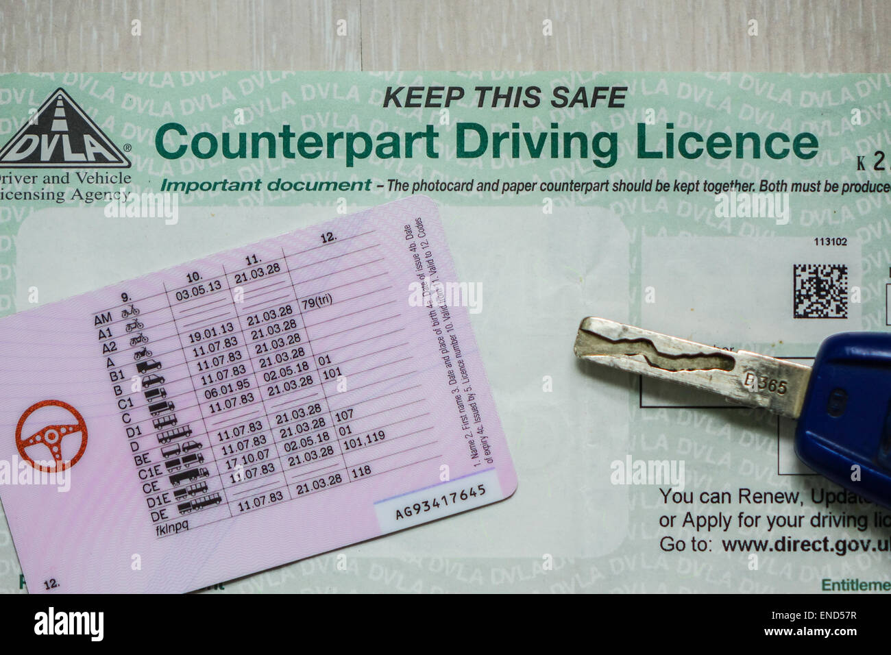 The UK driving licence paper counterpart will be abolished June 2015. Details of convictions will be kept on the - Stock Image