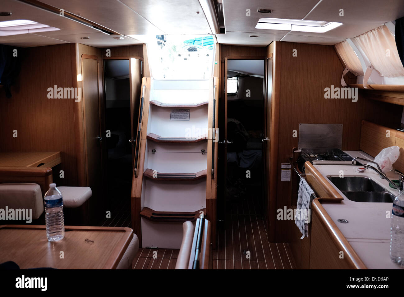 Inside cabin of a 44-foot sailing yacht Stock Photo