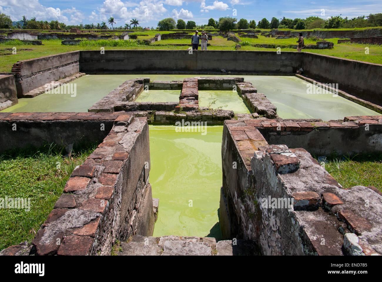 Ruins of royal pond at Surosowan palace, Old Banten, Java, Indonesia. Stock Photo