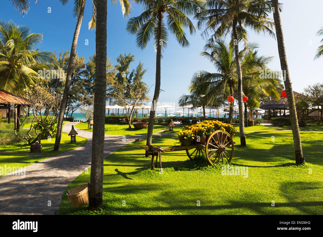 PHAN THIET, VIETNAM - FEBRUARY 07, 2014: Seaside resort on the beaches of Phan Thiet - an upcoming touristic area - Stock Image