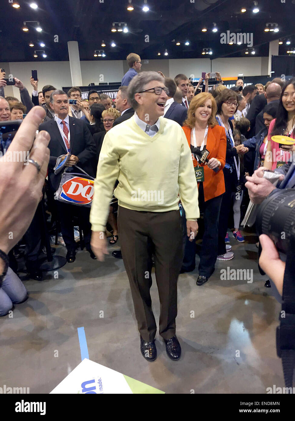 Omaha, USA. 2nd May, 2015. Microsoft founder Bill Gates attends the annual shareholder's meeting of investment - Stock Image