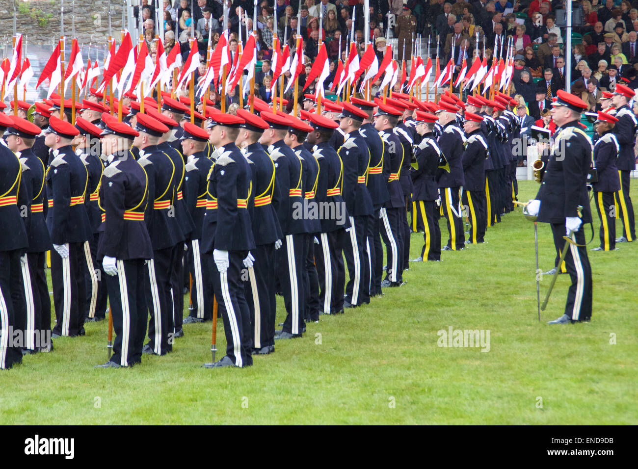 Richmond Castle, North Yorkshire, UK. 2nd May, 2015. Amalgamation of the 9th/12th Royal Lancers (Prince of Wales's) - Stock Image
