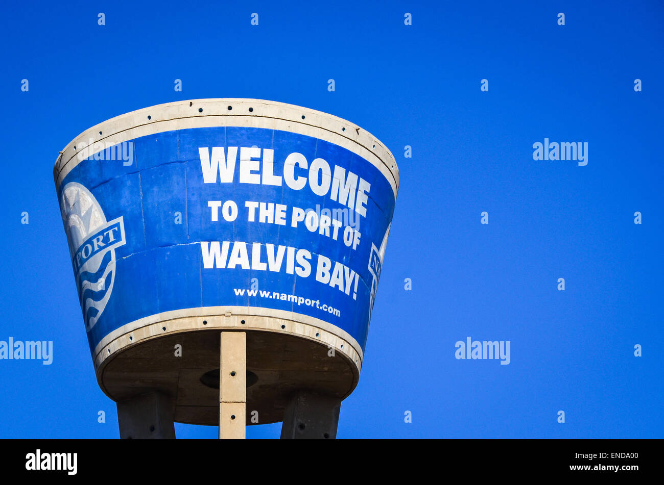 Water tower at the port of Walvis Bay, Namibia, reading 'welcome to the port of Walvis Bay' - Stock Image
