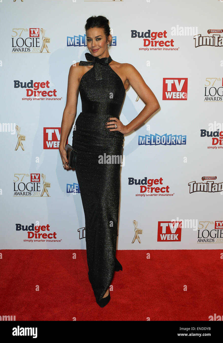 Megan Gale arriving at the 2015 Logies Awards, Melbourne, Australia - Stock Image
