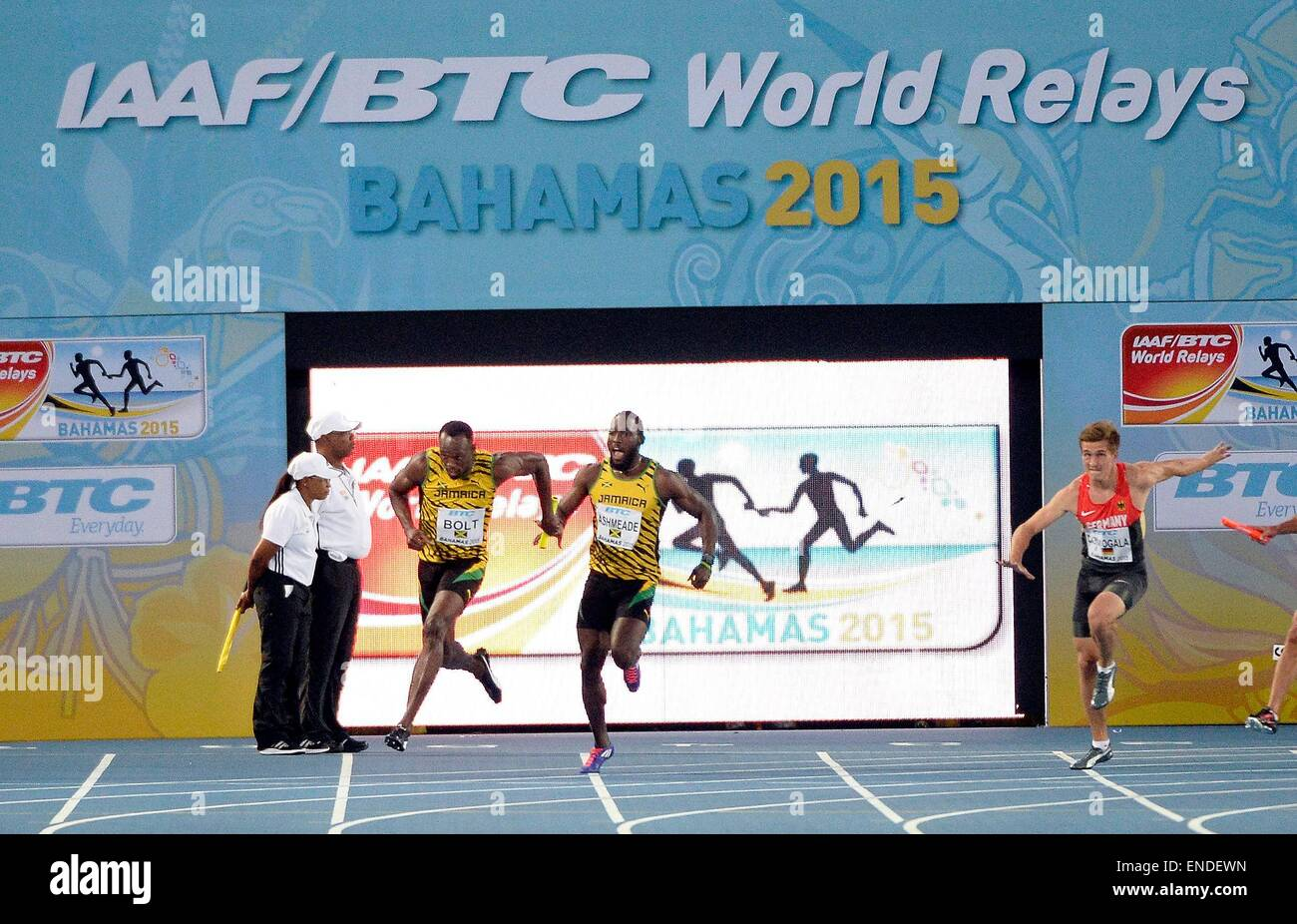Nassau, Bahamas. 02nd May, 2015. IAAF World Relay championships. Ryan Bailey of Usa and Usain Bolt of Jamaica 4 - Stock Image