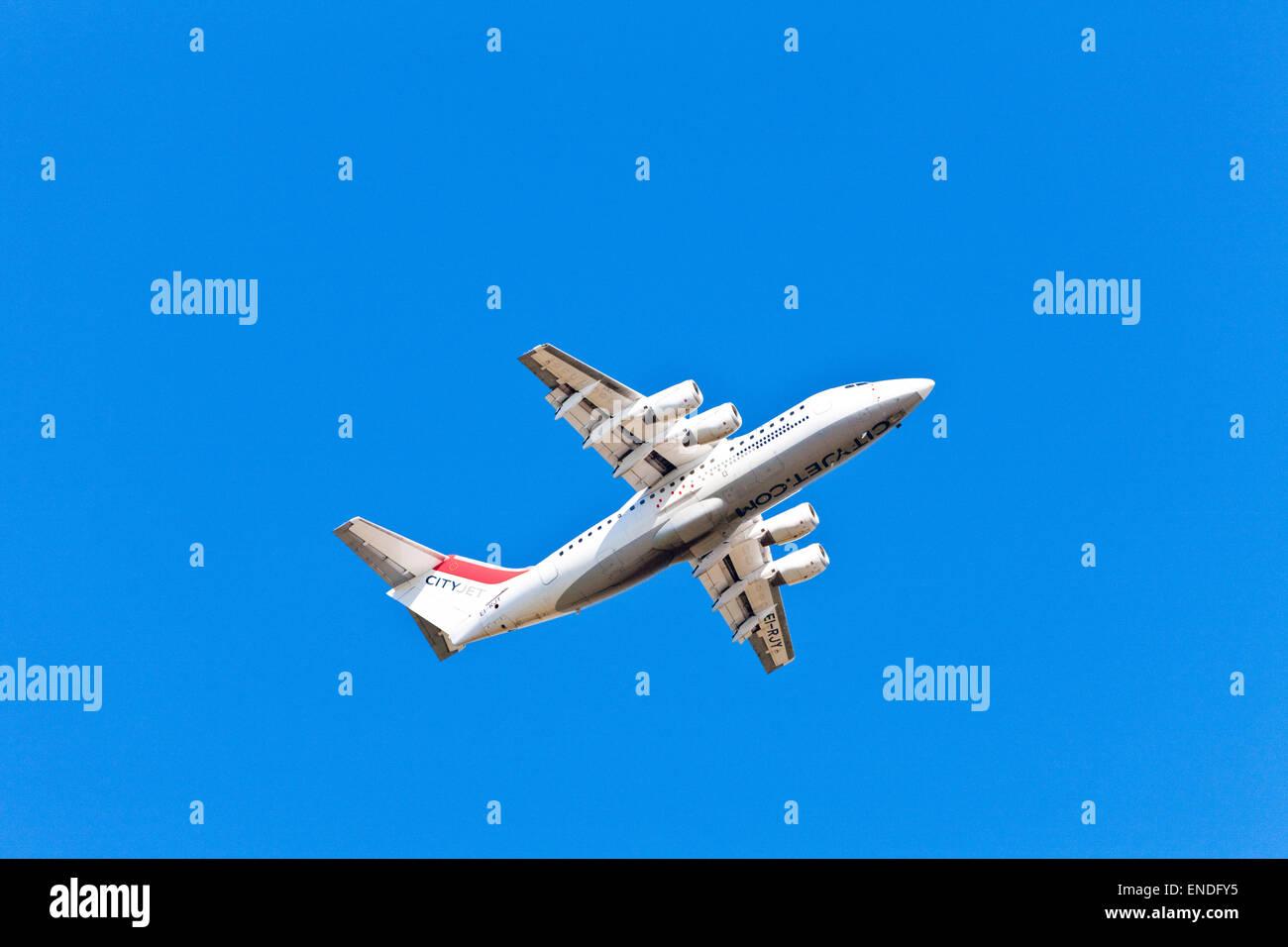 CityJet plane ( British Aerospace Avro RJ85 / BAe 146 ) in the sky Stock Photo