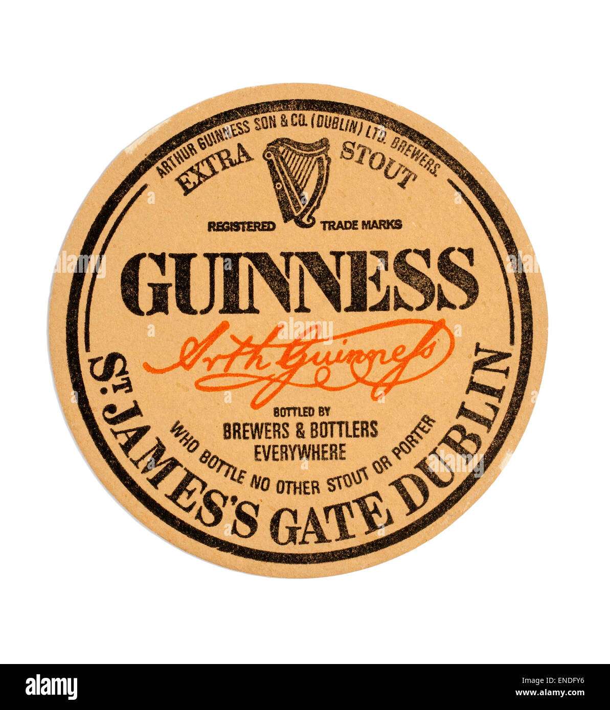 Vintage British Beer Mat Advertising Guinness - Stock Image