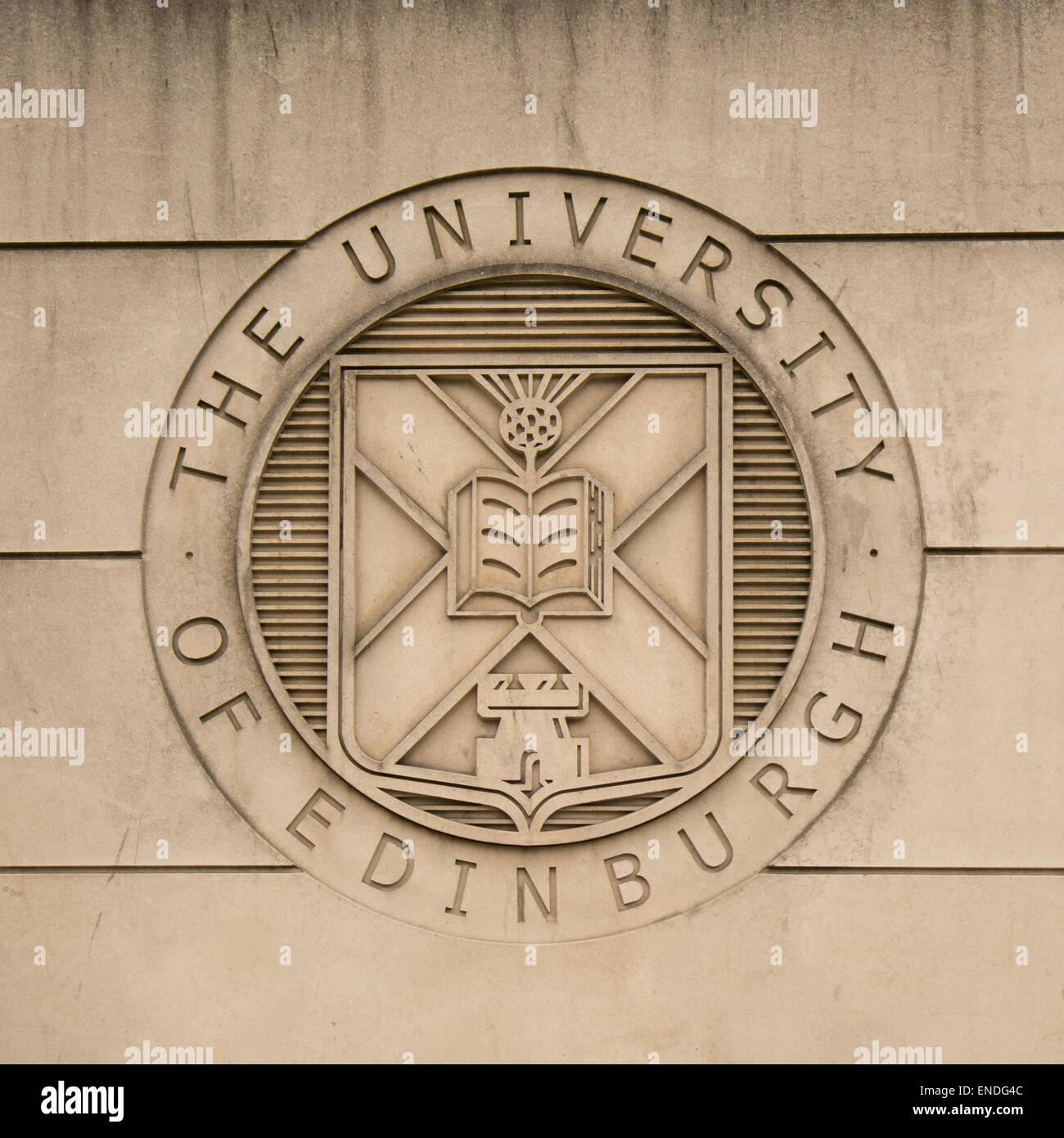 EDINBURGH, SCOTLAND, UK - 2 MAY 2015: The logo or coat of arms of The University of Edinburgh - Stock Image