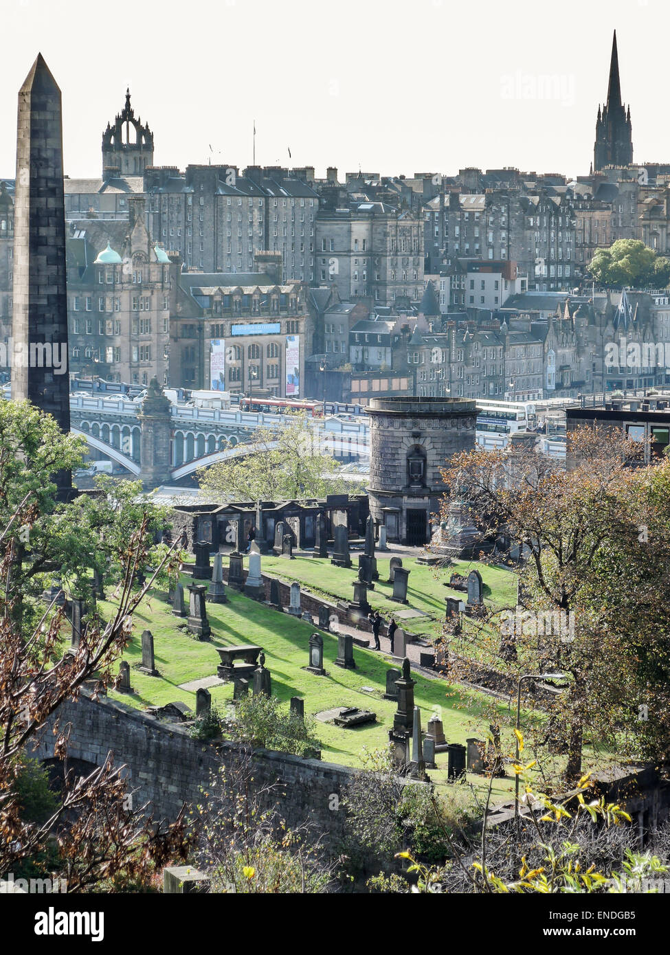 Old Calton burial ground with the Edinburgh skyline in the background and a view on North Bridge Stock Photo