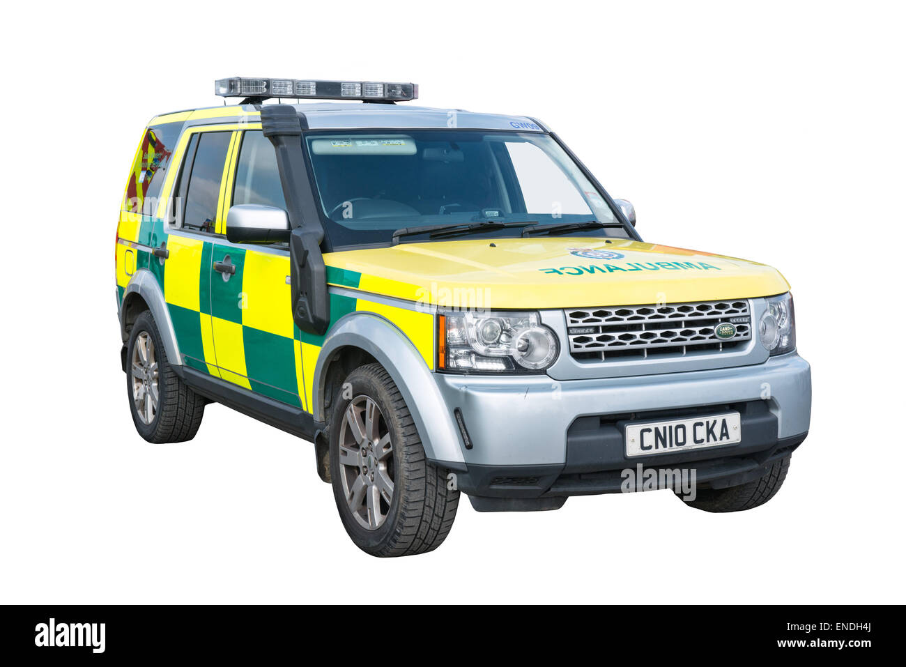 A cut out of a Wiltshire NHS trust paramedic Landrover ambulance - Stock Image
