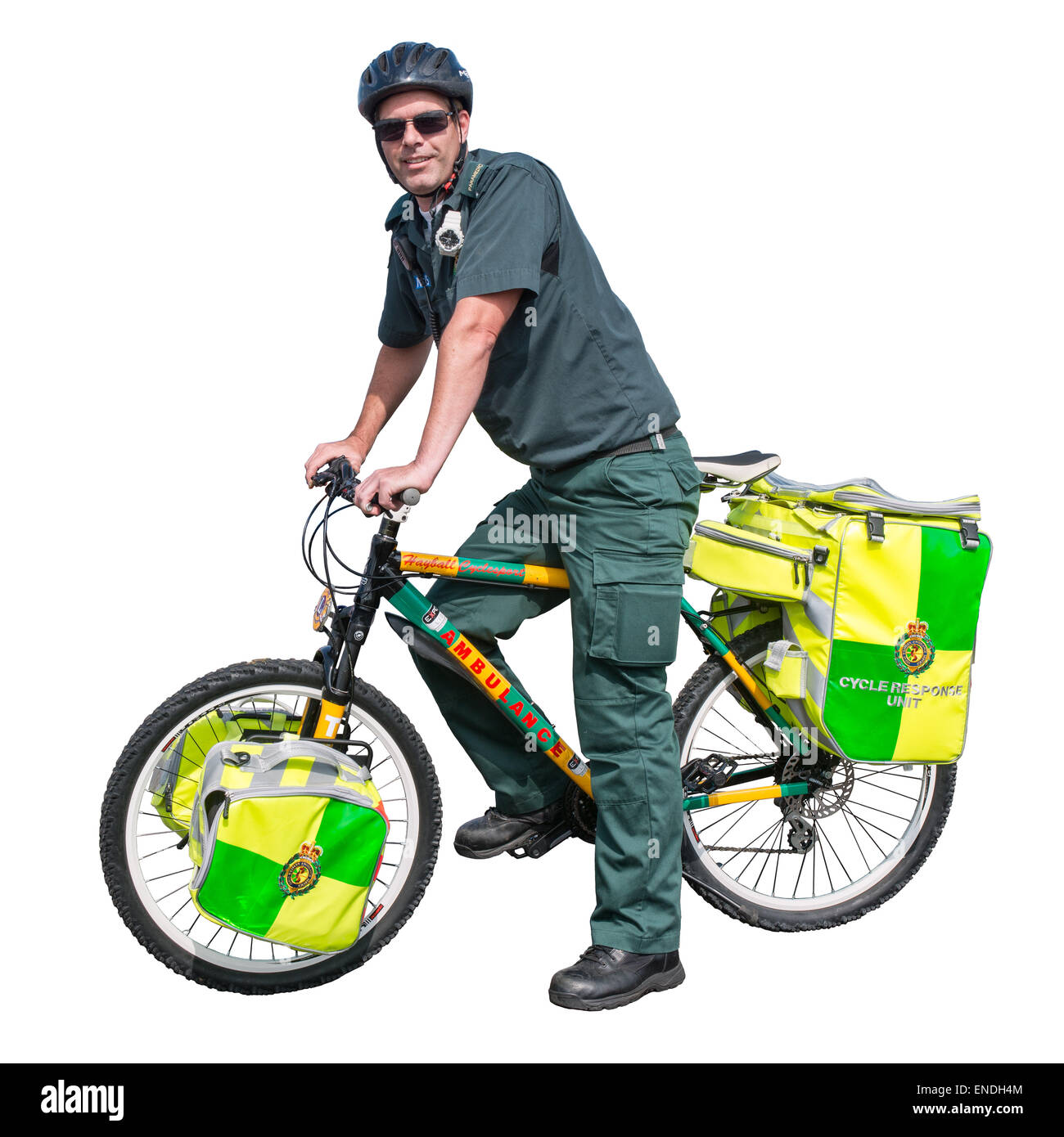 A cut out of a Wiltshire NHS trust paramedic on a Cycle Response Unit - Stock Image