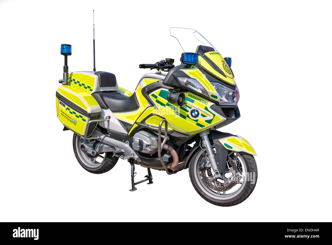 A cut out of a Wiltshire NHS trust paramedic BMW motorcycle Response Unit - Stock Image