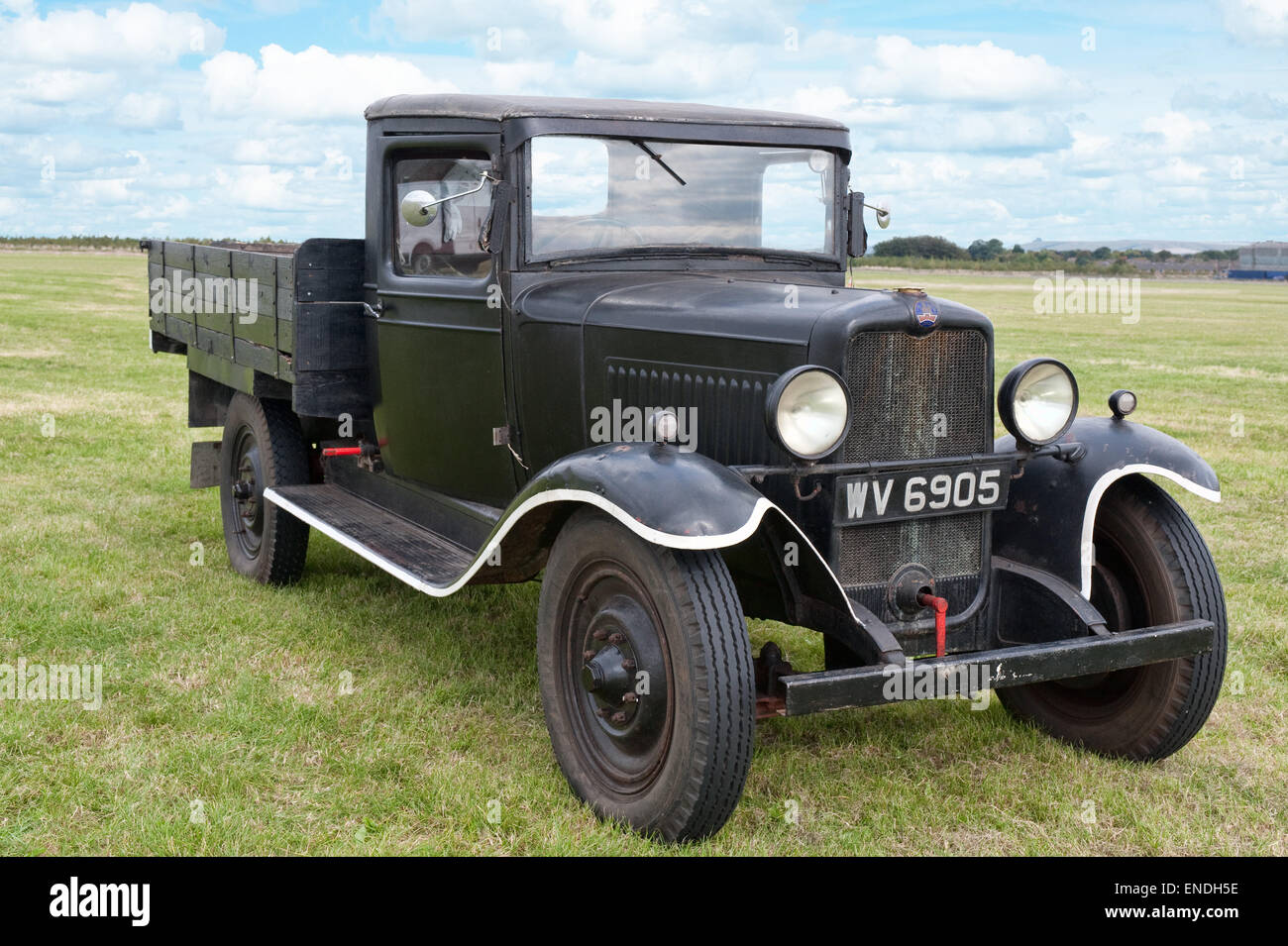 A vintage, Bedford flatbed commercial vehicle - Stock Image