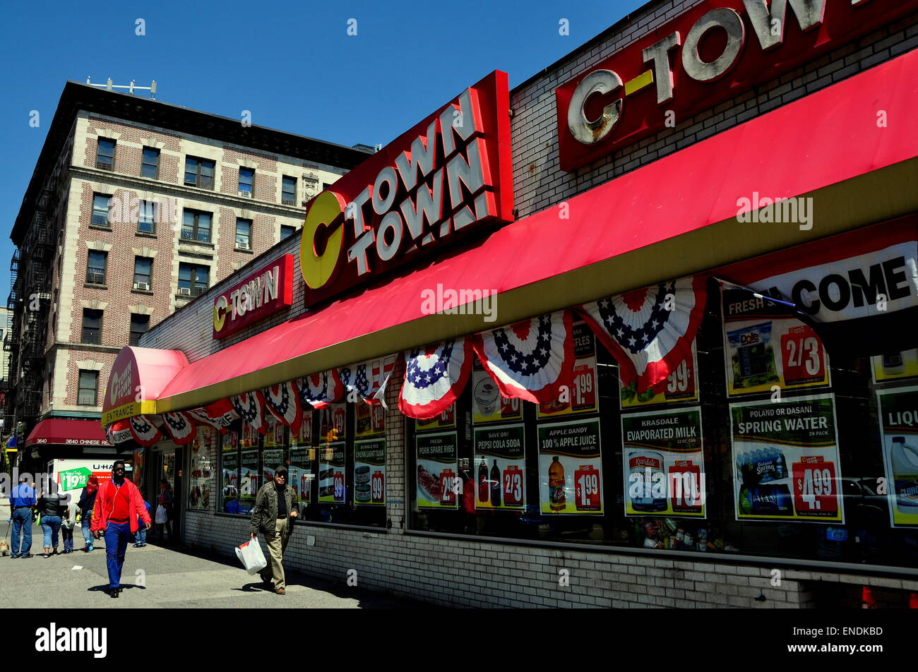 New York City: C-Town Super Market with patriotic red, white