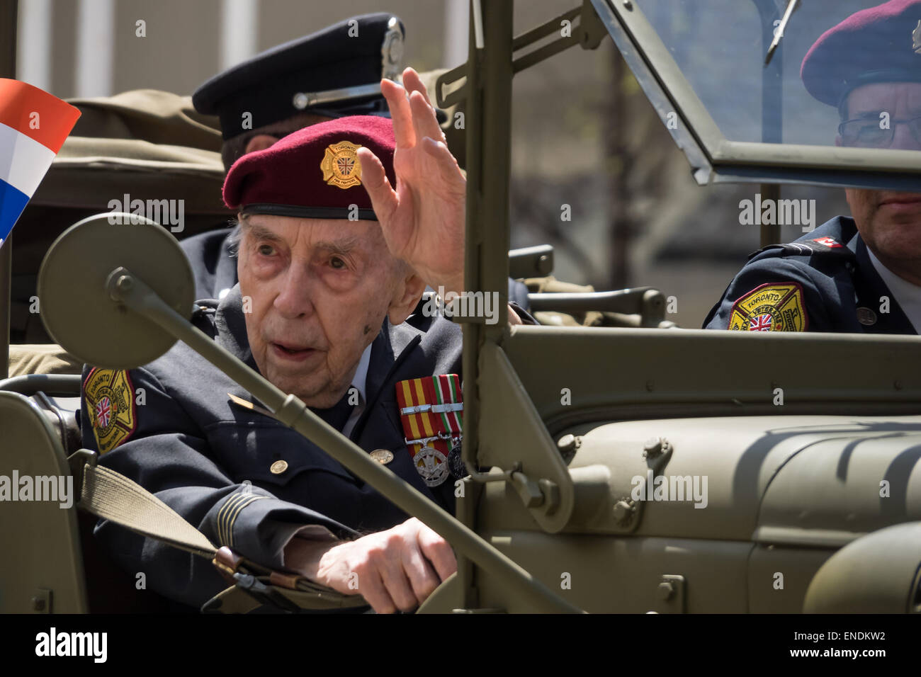 TORONTO, CANADA - MAY 2, 2015: A veteran passes by. People celebrate the 70th anniversary of the end of the Second - Stock Image