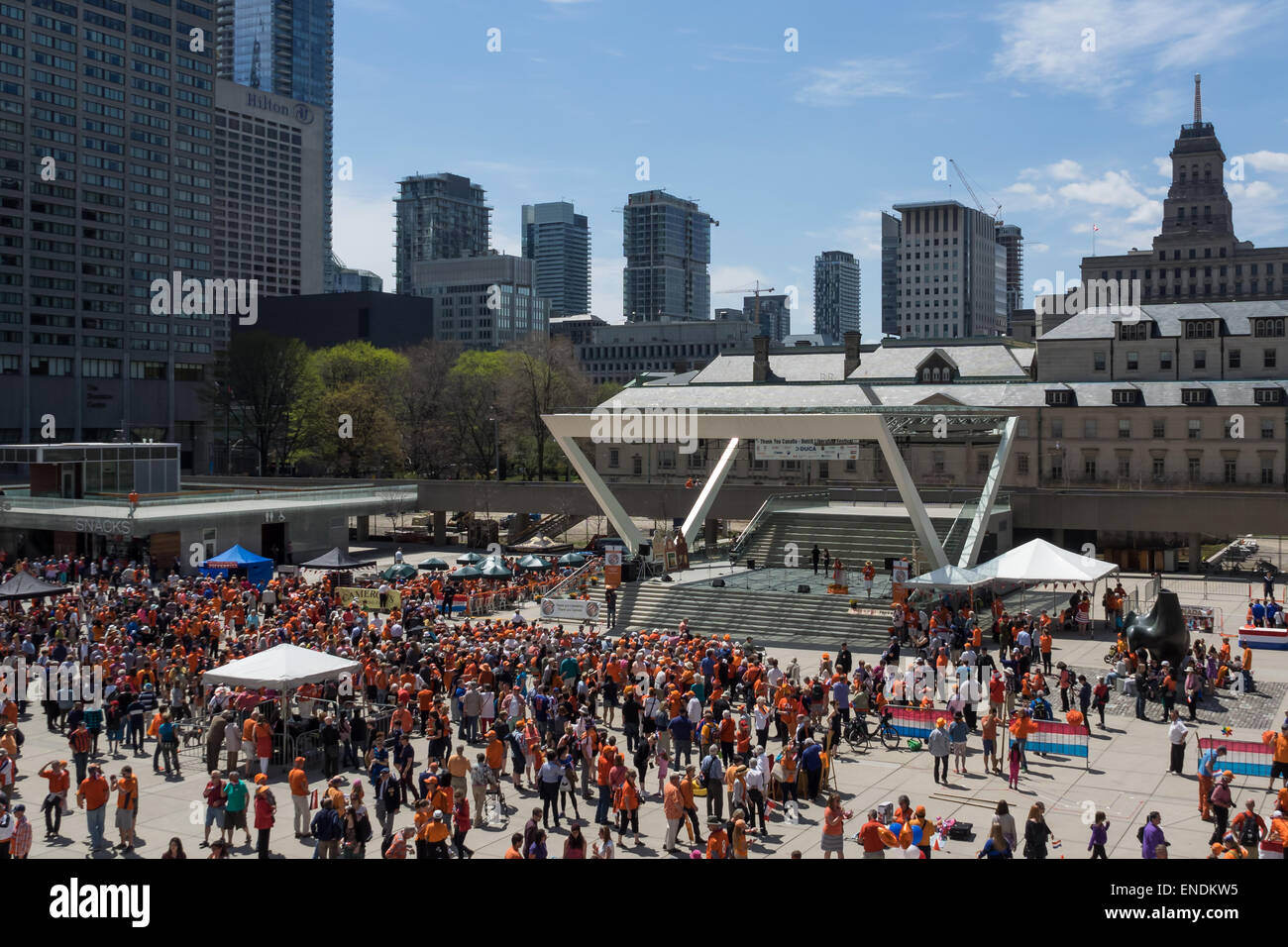 TORONTO, CANADA - MAY 2, 2015: People rally and celebrate the 70th anniversary of the end of the Second World War, - Stock Image