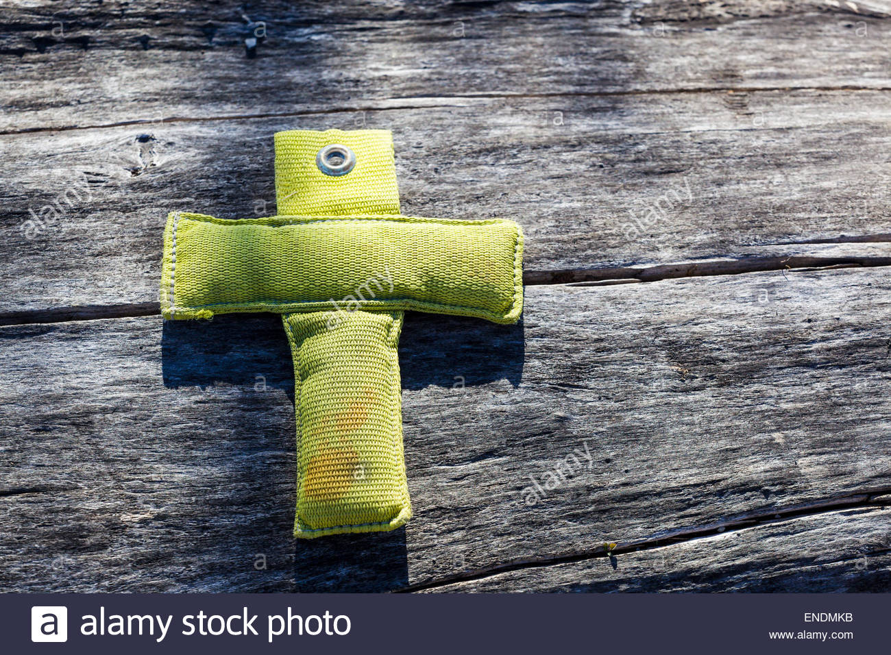 Part of backpack strap forming Christian cross. Such random meaningless mental perceptions called simulacra, or - Stock Image