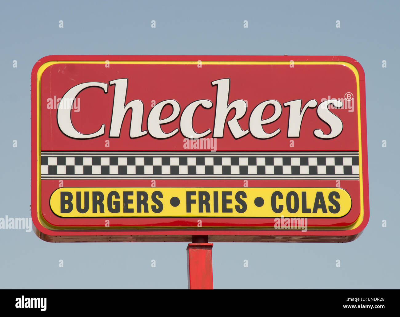 Checkers fast food drive in sign or notice, Brooklyn, NYC, USA Stock Photo