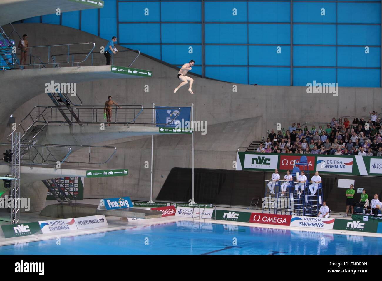 London, UK  3rd May, 2015  A man rushed onto the 10m Platform and