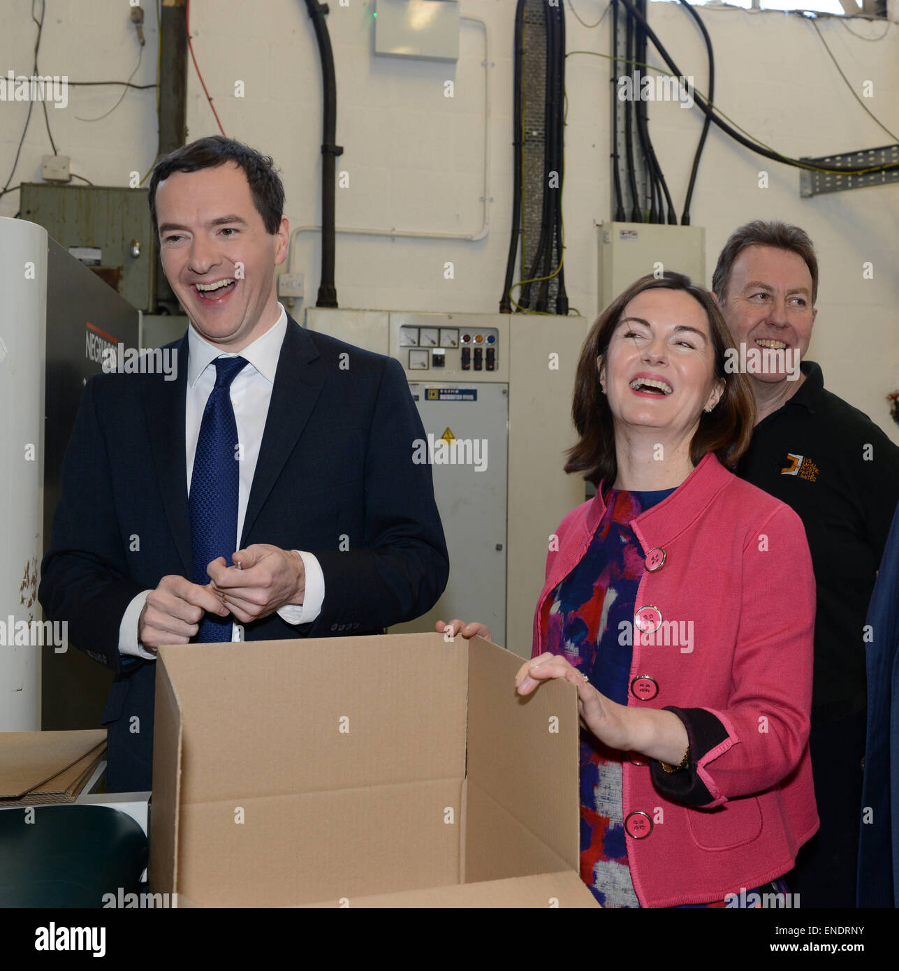 Lucy Allan the Telford Conservative Candidate with chancellor George Osborne - Stock Image