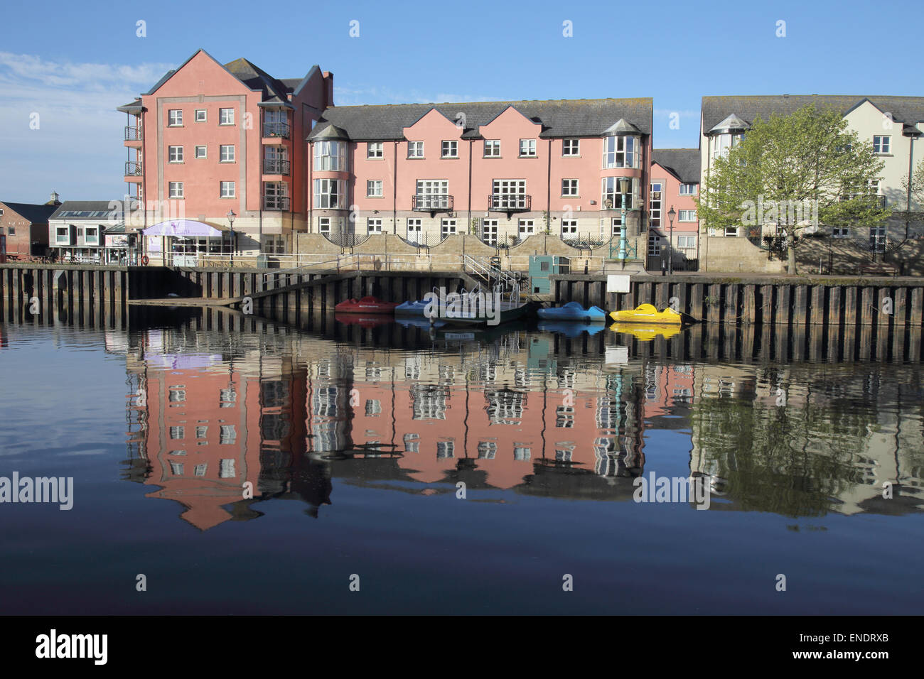 exeter quay on the river exe and the exeter canal - Stock Image