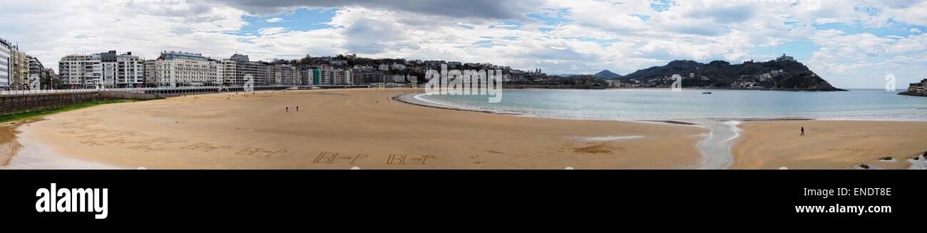 Donostia  beach panoramic view - Stock Image