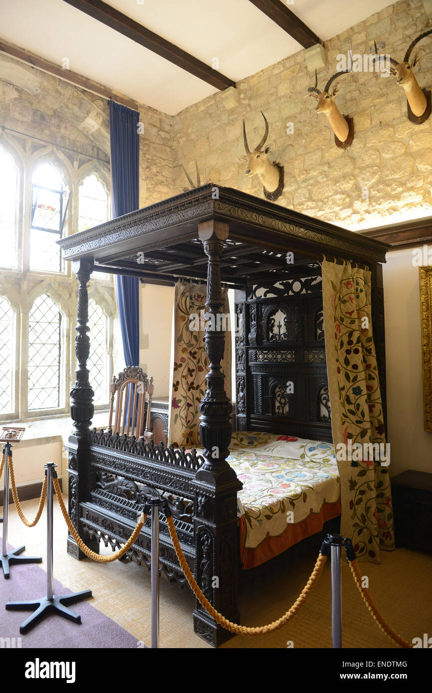The bed used by King Charles 1st at Carisbrooke Castle on the Isle of Wight - Stock Image