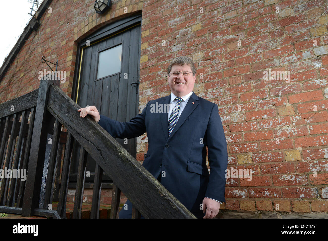 Premium Bonds financial advisor for million pound winners Robin Melley at his Matrix Capital Ltd offices at Monkhopton - Stock Image