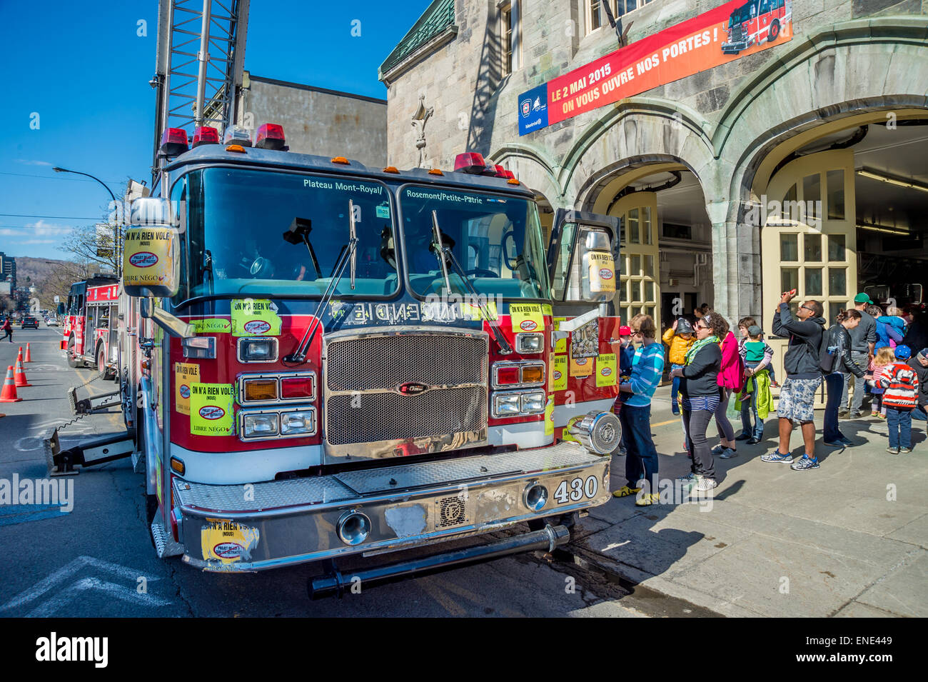 Montreal, May 2nd 2015. Fire department (SIM) Open house day at Plateau Mont-Royal fire station. - Stock Image