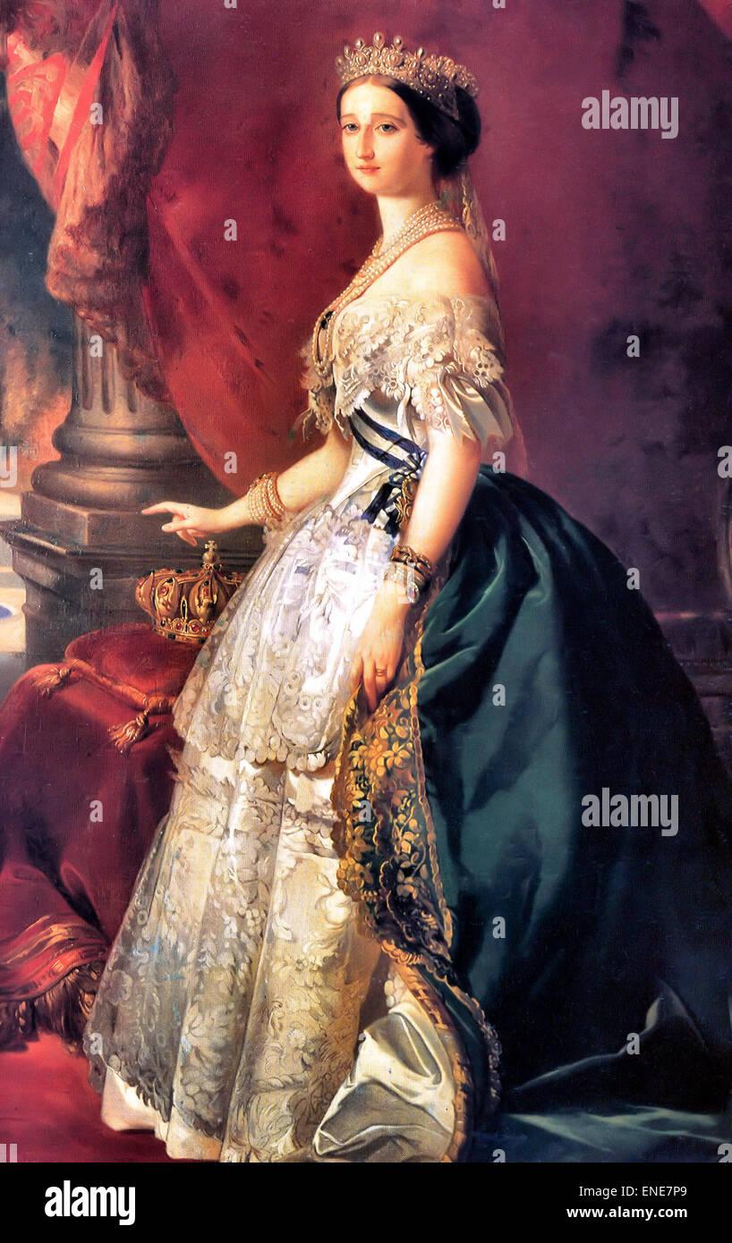 Portrait of the Empress Eugénie - Wife of Napoleon III  Franz Xaver Winterhalter  1853 - Stock Image