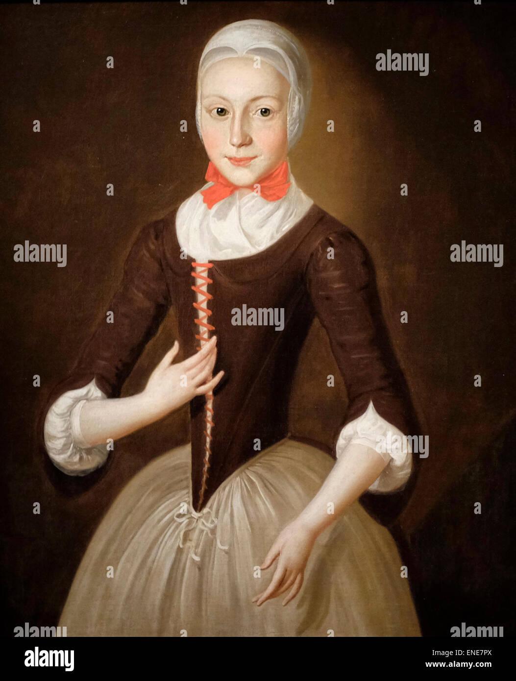 Young Moravian Girl  1755-1760 John Valentine Haith - Stock Image