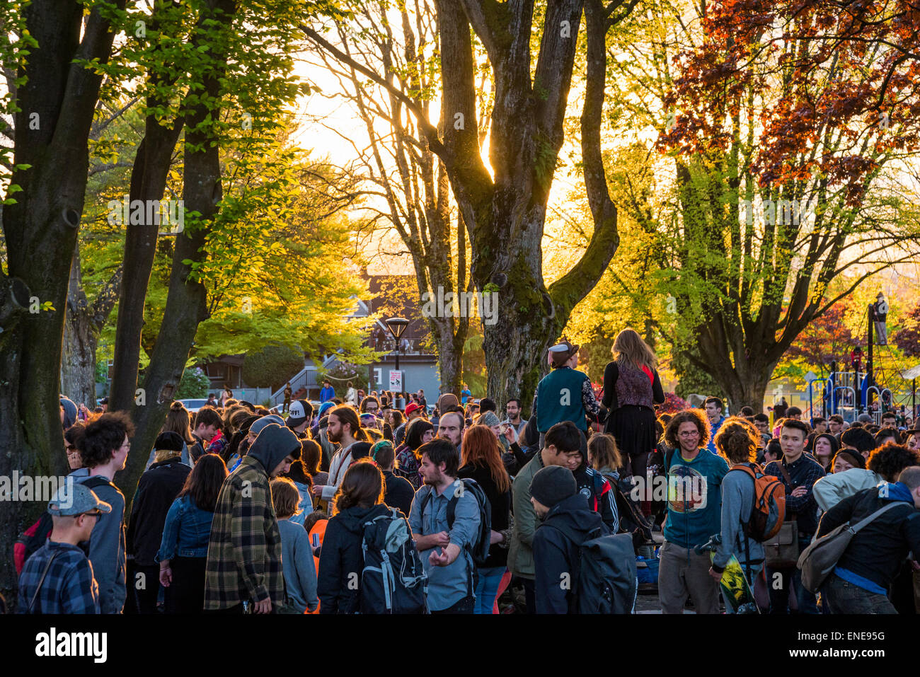 May Day gathering, Grandview Park, Commercial Drive, Vancouver, British Columbia, Canada. - Stock Image