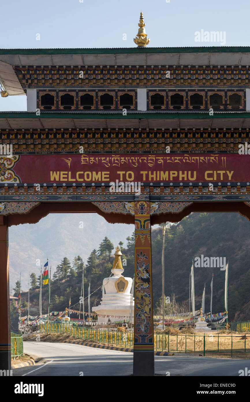 Arch with welcome sign for Thimphu city, Bhutan, Asia - Stock Image