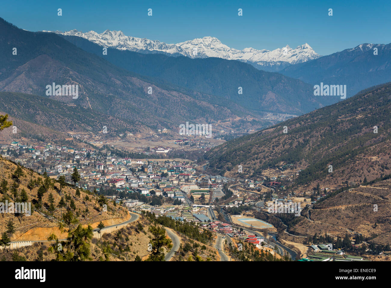 Overall view of Thimphu, Bhutan, Asia, from Buddha Dordenma, with mountains - Stock Image