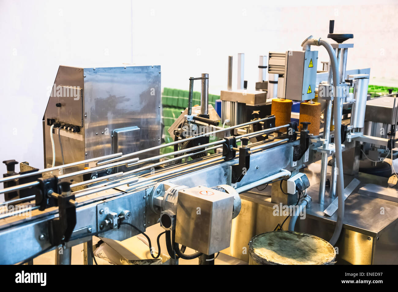 Automatic packing line of conveyor. Pharmaceutical and chemical industry. Manufacture on factory - Stock Image