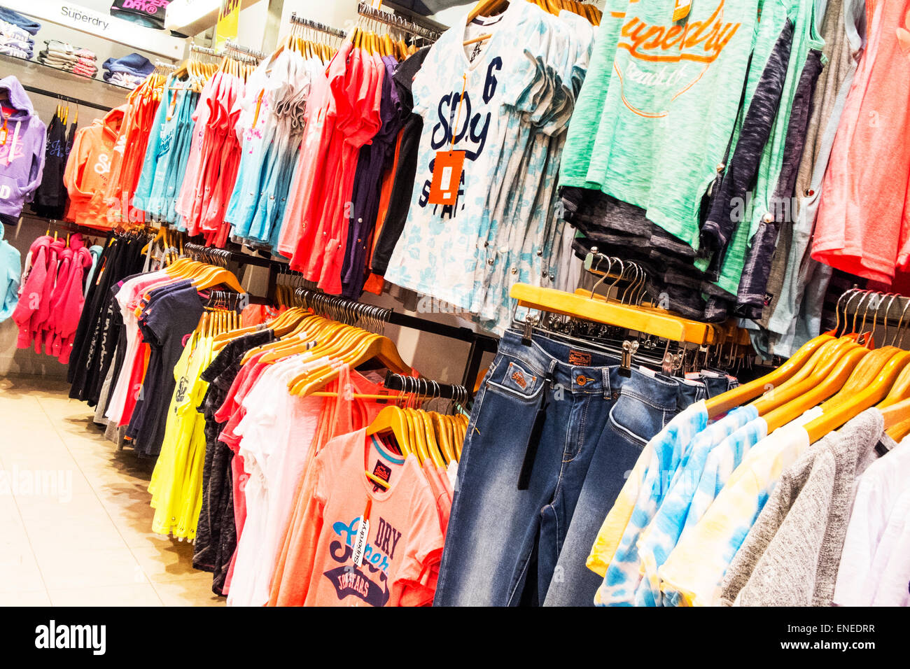 0752ebf19 Superdry clothes clothing inside shop store shopping ladies tops t's tshirts  Springfields Spalding town Lincolnshire UK England