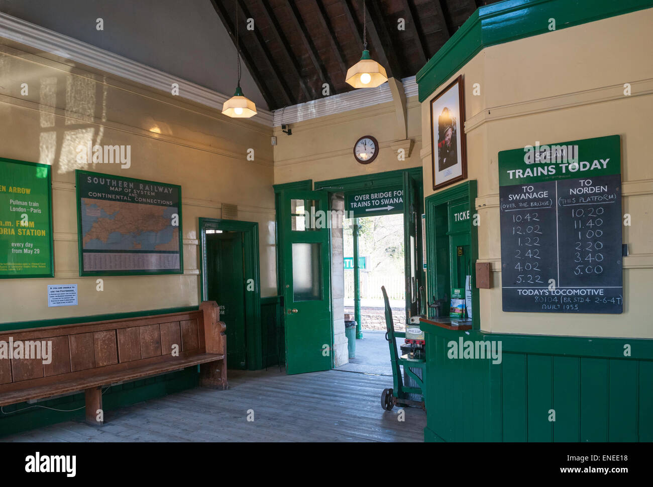 The booking hall at Corfe Castle railway station on the restored Swanage steam line - Stock Image