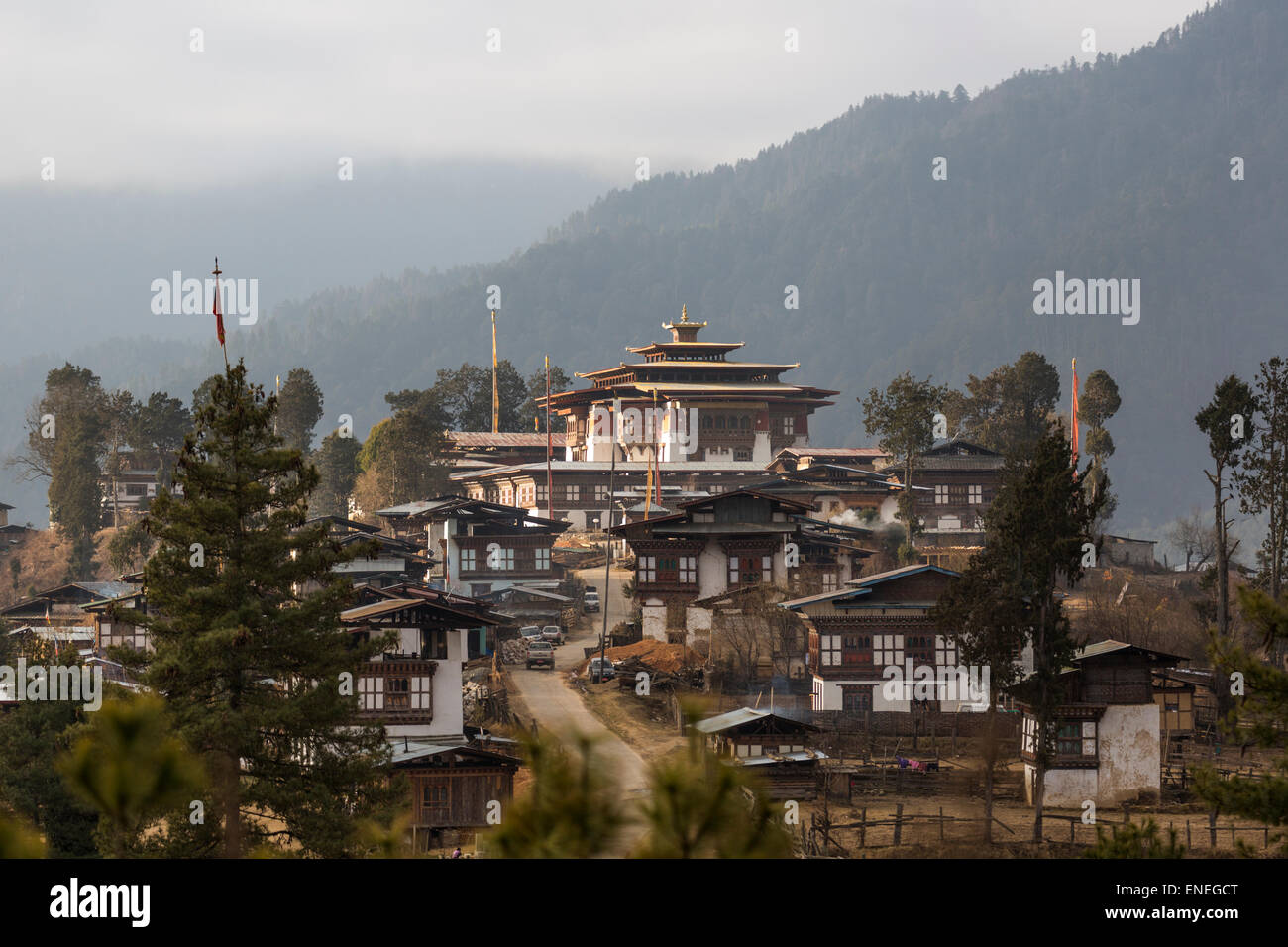 Gangtey Monastery and village, Phobjiokha Valley, Western Bhutan, Asia - Stock Image