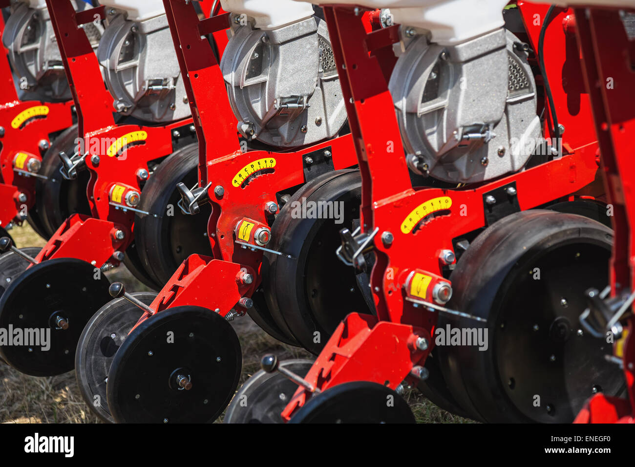 Mechanized machinery equipment for agriculture or farmaland industry - Stock Image