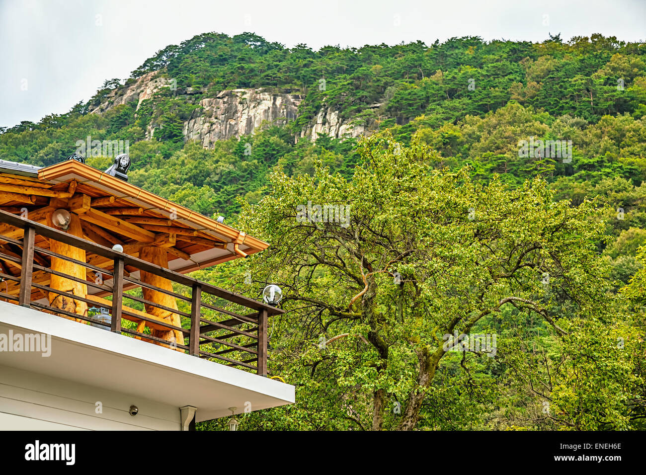 Terrace on house roof with view on mountains in South Korea - Stock Image