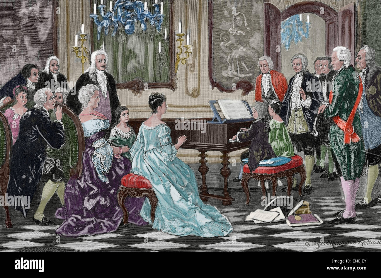 Mozart family grand Tour. Maria Anna (Nannerl) and Wolfgang Amadeus playing  before the Empress Maria Theresa (1717 Stock Photo