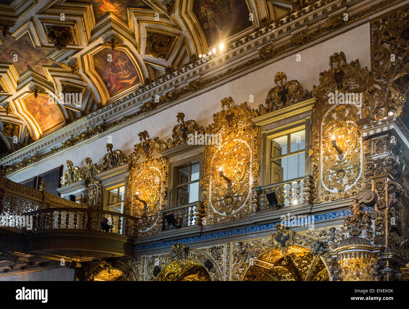 Brazil, Salvador, statues of saints and gold decorations in the St. Francisco church - Stock Image