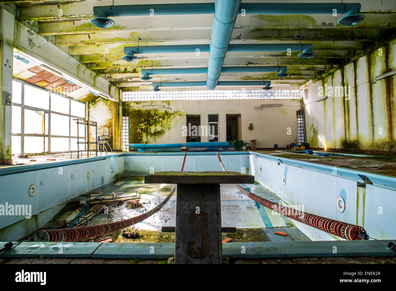 old abandoned swimming pool - Stock Image