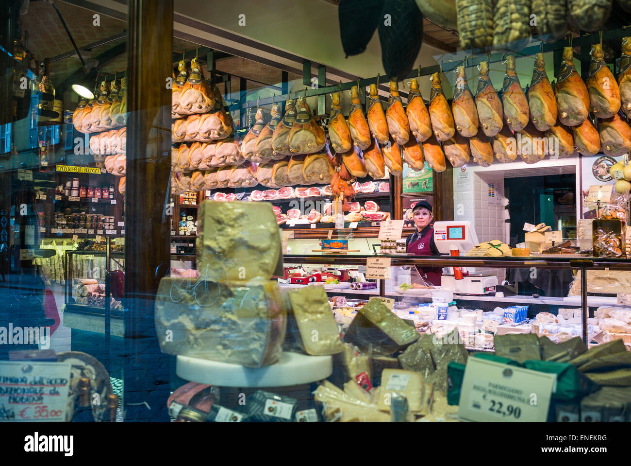 Parma, a typical ham and salted pork shop in the old city senter - Stock Image