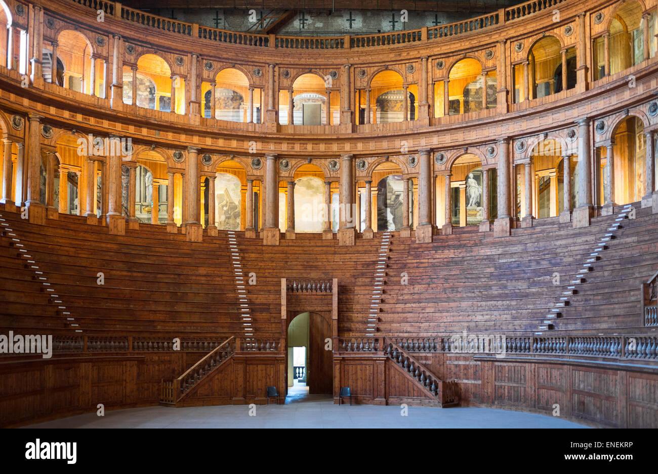Parma, the wooden Farnese Theatre made by Goivanni Battista Aleotti - Stock Image