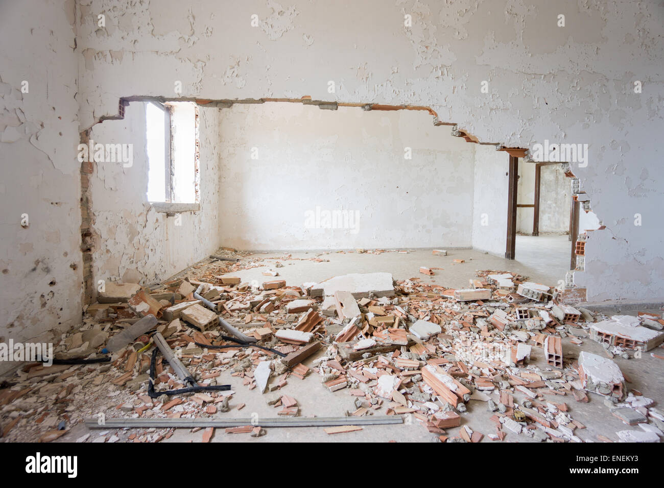Abandoned and ruined house. - Stock Image