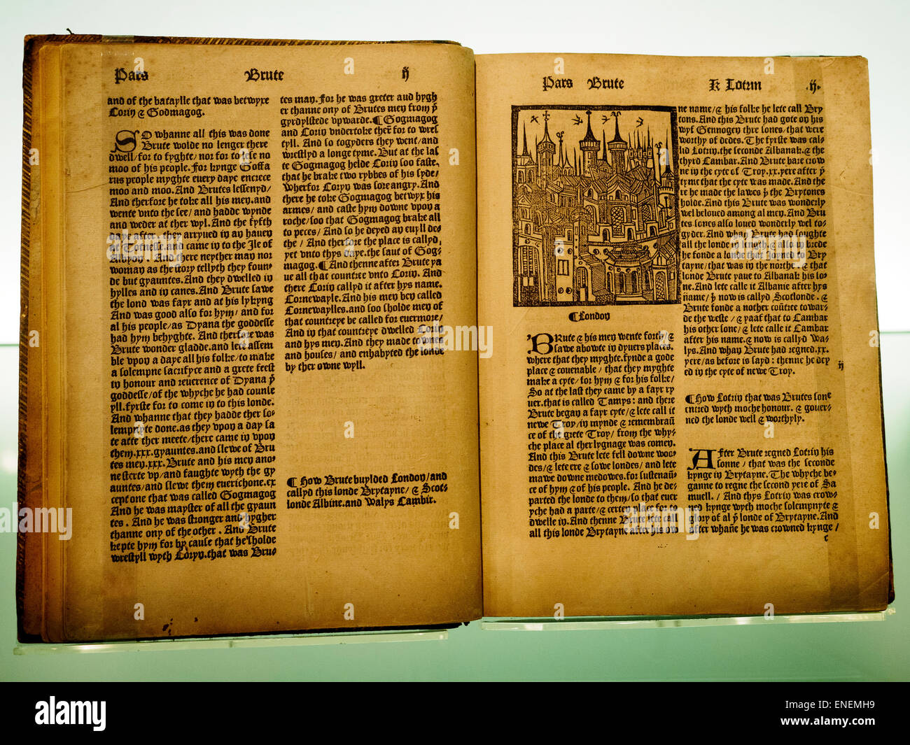 The Chronicles of England 1497 Compiled by William Caxton in 1480, the book Chronicles the history of England up - Stock Image